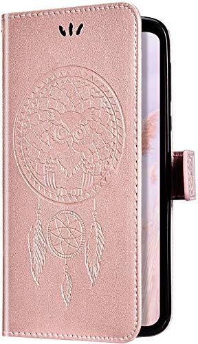 Uposao Samsung Galaxy J8 2018 Coque Flip Case,Hibou Capteur de rêves Motif Housse en Cuir PU Pochette Portefeuille à Rabat Clapet Fermeture Magnétique Etui avec Stand Support et Porte-Cartes,Or Rose