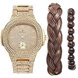 Cuban Bling-ed Out Luxury Mens Gold Watch w/The Coolest Bracelets - Distinctive & Rich Looking Fabric Braided Bracelet,Wooden Beaded Bracelet & Cuban Bracelet for Men (Gold, Brown - 8475)