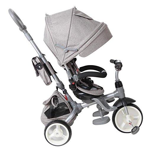 Dreirad Kinderfahrzeug Kinderfahrad Fahrrad 6in1 Liegefunktion Drehbares Sitz grau grey (grau)