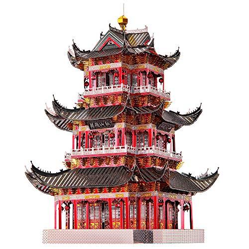 piececool 3D Lasergeschnittenes DIY traditionelles chinesisches Architekturmodell Metallmodell-Puzzles für Erwachsene- Juyuan Tower-303pcs