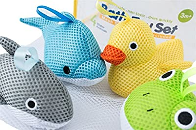 Bath Toys – Soft, Safe & Educational for Baby & Toddlers – Best Set for Kids of All Ages – Interactive Play & Games for Boys and Girls – Use In or Out of Tub - BONUS Case & Mesh Net Organizer Bag for Storage & Drying – Easy to Clean, Without Holes - NO Mo