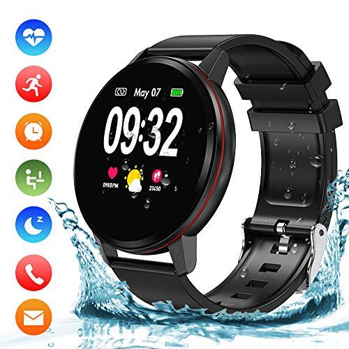 Bluetooth Smart Watch, Fitness Watch IP68 wasserdichte Smartwatch 1,3-Zoll-Touchscreen mit Pulsmesser, Schlafmonitor, Aktivitäts-Tracker-Schrittzähler SMS-Anrufbenachrichtigung für iOS Android