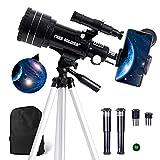 FREE SOLDIER Telescopio astronomía para niños y principiantes - 15 x 150 x alto aumento - Telescopio refractor astronómico portátil profesional para adultos con trípode ajustable, color negro