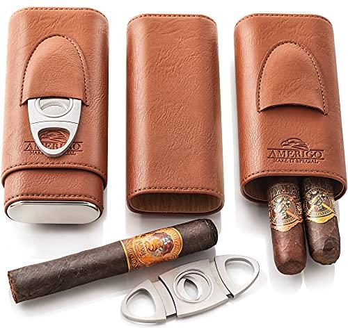 Luxury Cigar Case by Amerigo - 3 Finger Cigar Humidor for Cuban Cigars with Cigar Cutter - Cigar Accessories - Travel Humidor Humidifier - Cigar Travel Case - Cigar Gift Set for Man