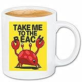 taza para café Llévame hacia el cangrejo de la playa CÁNCER DE LANGOSTA Caña de pescar pesca en alta mar pesca pescados redes de pesca Barco de...