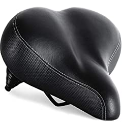 EXTRA WIDE AND EXTRA COMFORTABLE: with its soft padding and dual spring suspensions, this wide and comfortable bike saddle will help you get in shape and exercise in comfort. The padded bike seat is great for prostate and tailbone relief. This comfor...