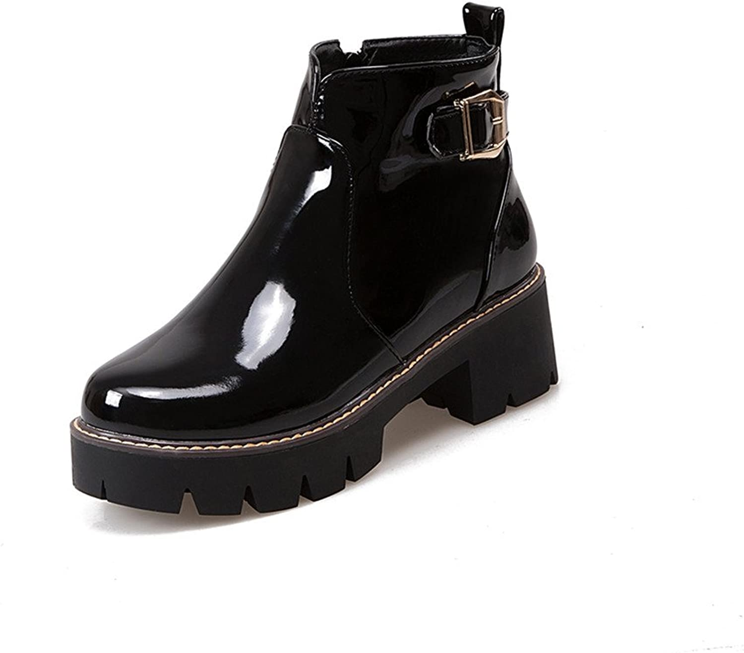 Lucksender Womens Patent Leather Buckle Side Zip Square Heel Platform Ankle High Boots