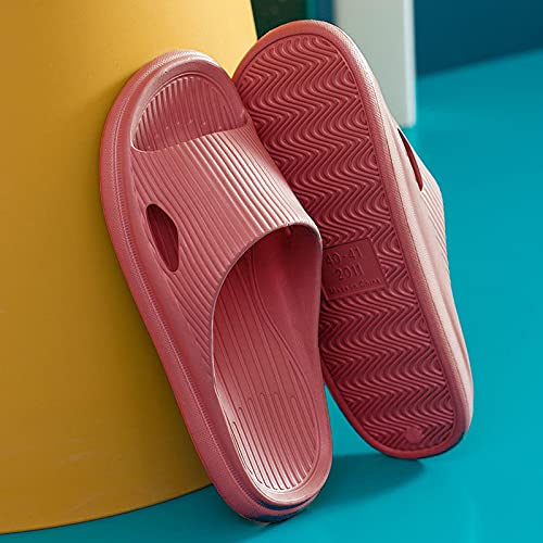 NISHIWOD Zapatillas Casa Chanclas Sandalias Zapatillas De Plataforma Gruesa para Mujer, Sandalias De Playa con Suela Blanda, Cómodas, Zapatos Antideslizantes para Baño Interior, para Mujer, 36 Rojo