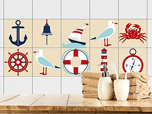 GRAZDesign 770383_10x10_FS10st Fliesenaufkleber Anker maritim | Fliesenbilder für Bad | Braun - Weiß | Fliesen zum Aufkleben Bad | Selbstklebende Fliesen-Folie (10x10cm // Set 10 Stück)