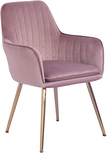 Lansen Furniture Modern Living Dining Room Accent Arm Chairs Club Guest With Gold Metal Legs Dark Pink