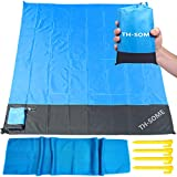 Th-some Alfombras de Playa, Manta Picnic Impermeable Anti-Arena con 4 Estaca Fijo + Enviar Toalla de...