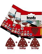 KWB Delta slijpschijven voor hout en metaal kwb (3 x 5 stuks) korrel 40-80-120