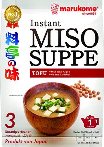 Marukome Instant Miso-Suppe (aus Japan mit Tofu, MSG frei, schnelle Zubereitung), 1er Vorteilspack 57 g