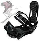 SCXLF Negras Fijaciones de Snowboard, Fijaciones de Tabla Esquí Portátiles Mejoradas 2020 para Nieve, Equipo de Esquí Invierno con Correa Ajustable para Instalaciones de Esquí,L:(40~46)