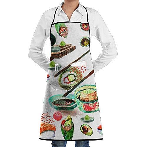 Eliuji Cocina Babero Delantal Cuello Cintura Corbata Bolsillo Central Comida Diaria Comer