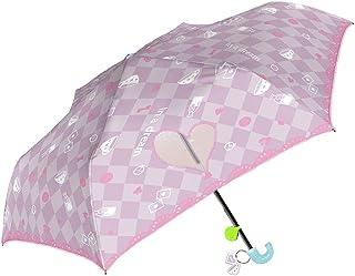女の子 折りたたみ傘 キッズ傘 50cm 手開き 子供用 グラスファイバー リフレクター付き 折傘 アリス