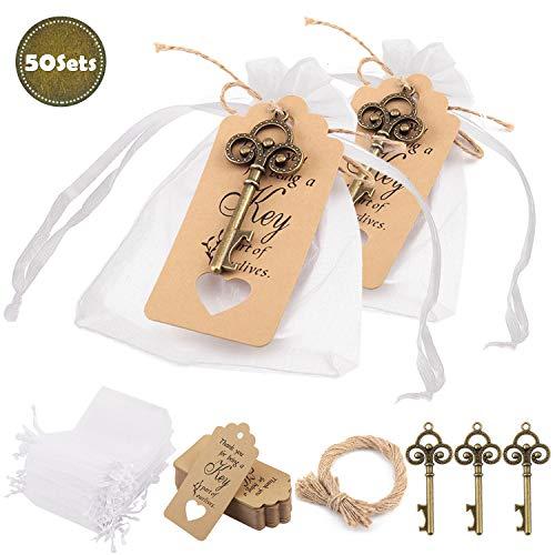 Minterest 50 Stück Gastgeschenke Hochzeit, Vintage Bronze Schlüssel Flaschenöffner, Durchsichtige Tasche, Geschenkanhänger aus Braunem Kraftpapier, Bindfäden aus Natürlicher Jute