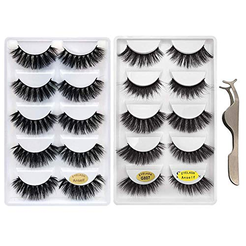 False Eyelashes,Anself 10 Pairs 5 Different Styles 3D Mink Handmade Fake Eyelashes Multipack with Free Precision Eyelashes Clip for Natural Look