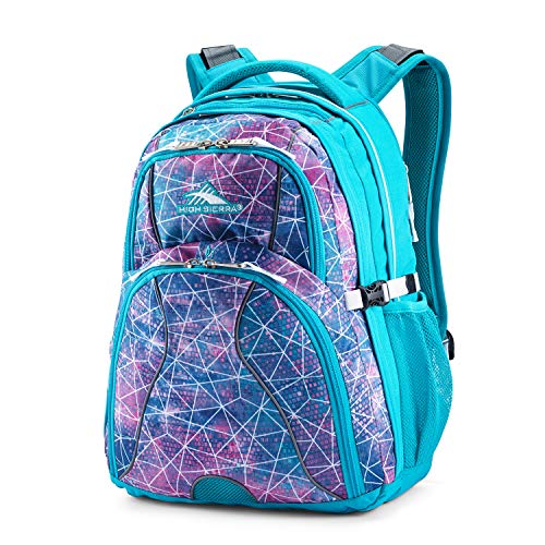 High Sierra Swerve Laptop Backpack, Sequin Facets/Bluebird/White, 19 x 13 x 7.75-Inch