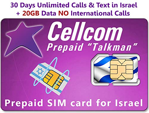 Israel Prepaid SIM Card from Cellcom, Including 30 Days Unlimited Israel Calls & Text + 20GB Data at 4G LTE Speed, Fits Any Size SIM Card Micro Nano + Case iPhone Pin & User Guide