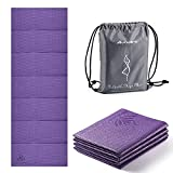 avoalre tappetino yoga antiscivolo pieghevole, tappetino yoga antiscivolo in pvc spesso 5 mm facile da piegare per fitness yoga esercizio pilates sport, 173x61cm, viola