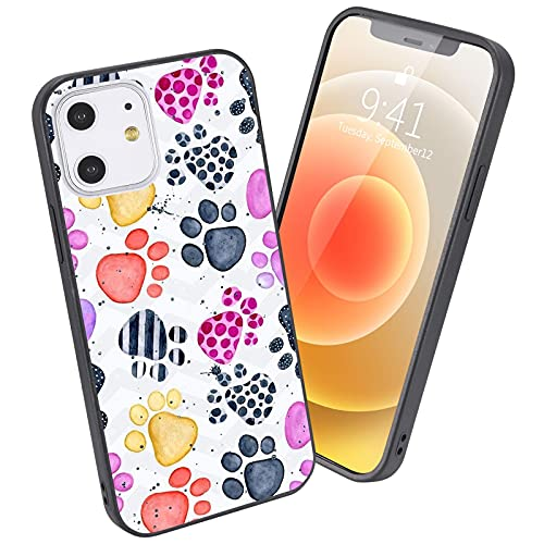 LuGeKe Dog Paws Phone Case for iPhone7/iPhone8/iPhone SE 2020,Puppy Paws Patterned Paws Design Case Cover,HardPCBackwithTPUBumper Anti-Stratch Bumper Protective Phonecase(Colorful Pup Paws)