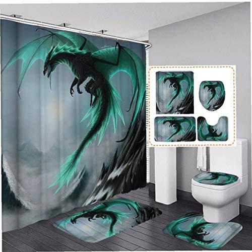 shentaotao Feilong Wasserdicht Badezimmer-duschvorhang Wc-Abdeckung Badmatte Anti-rutsch-Teppich Vierteilige Anzug Wasserdicht Teppich Pad Hauptdekoration Zubehör 4pcs