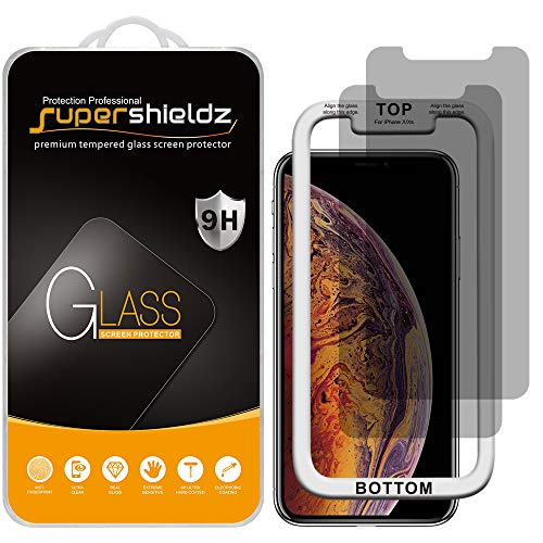 (2 Pack) Supershieldz for Apple iPhone 11 Pro, iPhone Xs and iPhone X (5.8 inch) (Privacy) Anti Spy Tempered Glass Screen Protector with (Easy Installation Tray) Anti Scratch, Bubble Free