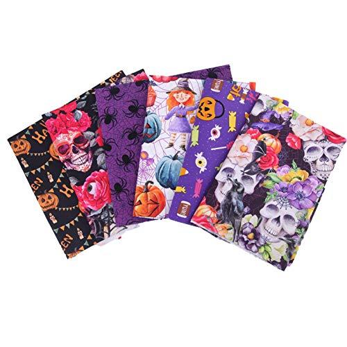 Hongzhi 6 piezas 50 × 50 cm Halloween tela de algodón patchwork tejido DIY tejido cuadrado algodón paño paquete de tela para coser con calabaza espíritu araña de calabaza patrón