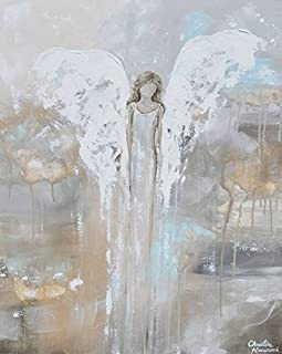 Imagekind Wall Art Print Entitled with Courage in Her Heart - Angel Painting by Christine Krainock | 36 x 45
