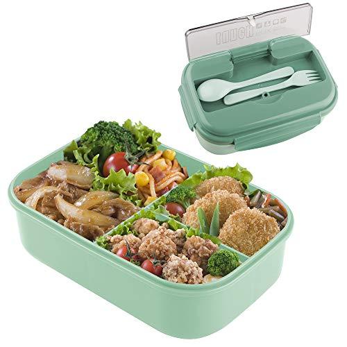 Porta Pranzo, Lunch Box Bento Box con Scomparti Bambini, Porta Pranzo Contenitori per Microonde Lunch Box Bambini Contenitori per Il Pranzo dei BambiniIdeale per Adulto (Dark Green)