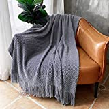 LOMAO Knitted Throw Blanket with Tassels Bubble Textured Soft Lightweight Throws for Couch Cover Home Decor (Dark Grey, 50x60)