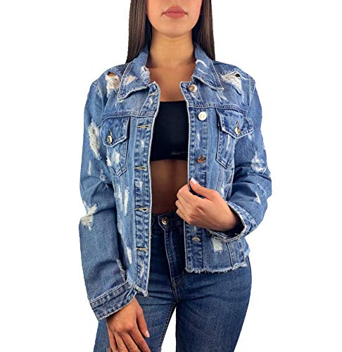 Worldclassca Damen Jeansjacke KURZ Jeans MIT Rissen Sommer LEICHTE Jacke Vintage Button Used WASH FRANSEN ÜBERGANGSJACKE Fashion Blogger DENIMWEAR BLAU Denim Destroyed Cut Out XS-XL (S, Blau)