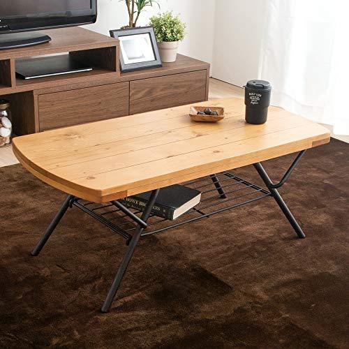 アイリスプラザ テーブル 折りたたみ ローテーブル 棚付き 収納 コンパクト ヴィンテージ 幅90×奥行45×高さ36.5cm ナチュラル BRTHOTBL