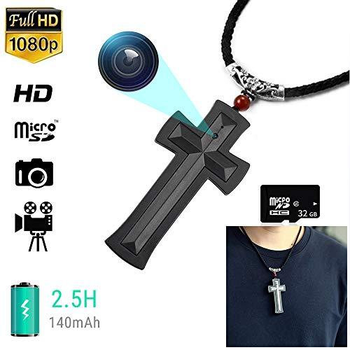 MY-COSE Wearable HD Mini Cámara, 1080P Videocámara Espía, 32G Memoria Diseño Ocultos Ser Usado como Un Collar, para La Oficina Al Aire Libre De Formación Enseñando A Los Niños,Negro
