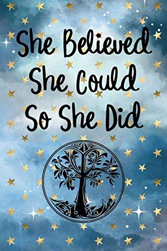 She Believed She Could So She Did: Tree Of Life Round, Cloudy Night Dream Stars Starry Night Sky Background Pattern Journal Diary (6x9)