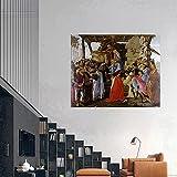 WKAQM Sandro Botticelli Tres Reyes Magos Peregrinación Lienzo Pared Arte Famoso Póster Grabados Vintage Pared Pintura Galería Sala de Estar Habitación Cuadro Pared Decoración Sin Marco