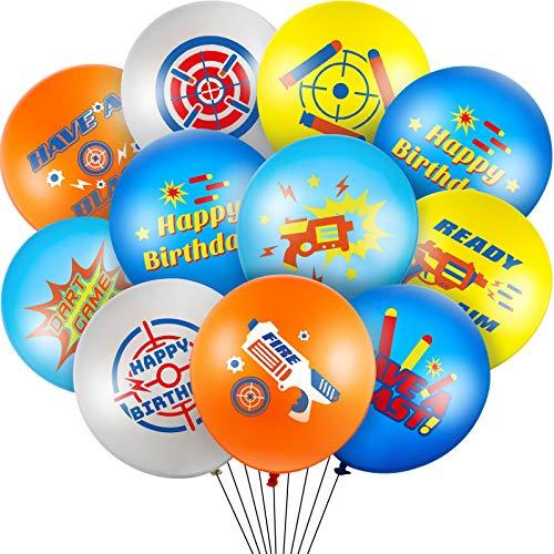 50 Pieces Dart War Balloons Target Party Latex Balloons Dart War Happy Birthday Balloons Supplies for Gun Target Birthday Party Dart War Party Decoration Supplies