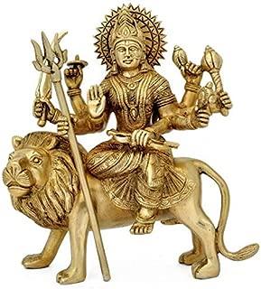 Astadhatu (8 Metals) Made Shri Durga Idol/Shri Vaishno Devi Idol/Sherawali MATA Idol/Durga MATA Brass Idol/Durga MATA Puja Idol - Vrindavan (8 cm)