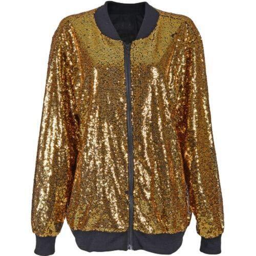 Verborgen met STYLE dames pailletten Glitter Zip Up Bomber Jacket