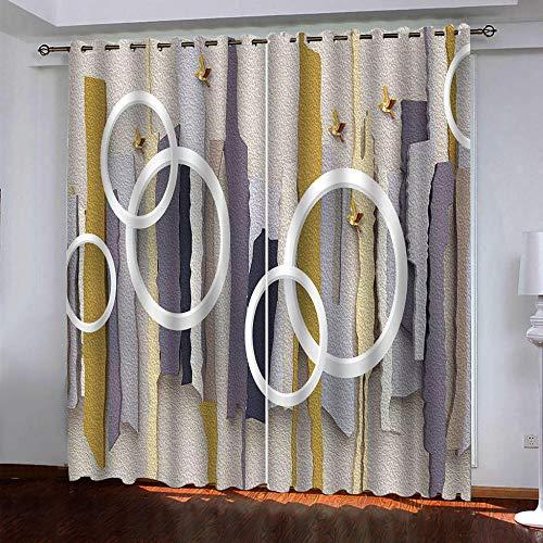 LUOWAN Cortinas para Dormitorio Moderno Salon Círculo Blanco Abstracto - 234x230cm Cortinas Opacas Decoracion de Ventanas Termicas Aisantes con Trabillas