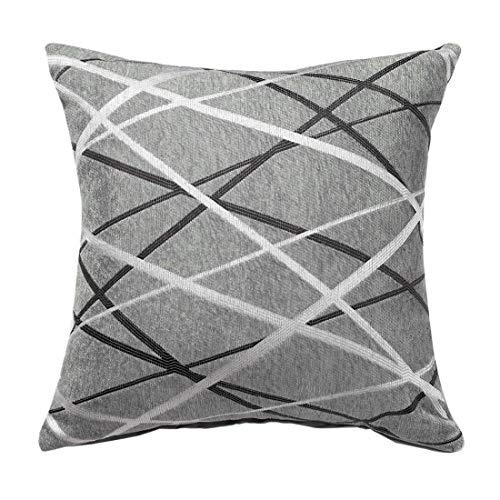 YeVhear - Funda de cojín decorativa, tejido de chenilla con textura, moderna, cojines cuadrados suaves, concisos para sofá de dormitorio, 17 x 17 pulgadas, gris y marrón