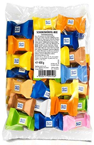 Ritter Sport Schokowürfel Mix-Beutel, Vollmilchschokolade, Schokoladen-Großpackung in verschiedenen Geschmacksrichtungen, bunt gemischte Lieblinge, (1 x 400 g)
