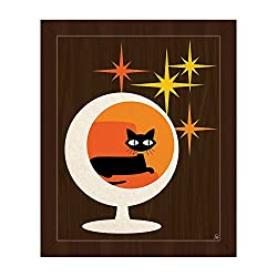 Mid-century modern cat art with kitty lounging in sphere chair