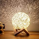 Night Light for Kids, XXMANX LED Globe Rattan Ball Lamp 5.9 inch Dimmable with Solid Wood Base for Bedroom Christmas Atmosphere Gift(Yellow)