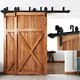 "EaseLife 8 FT Bypass Double Door Sliding Barn Door Hardware Track Kit,Fit Double 48"" Wide Door"