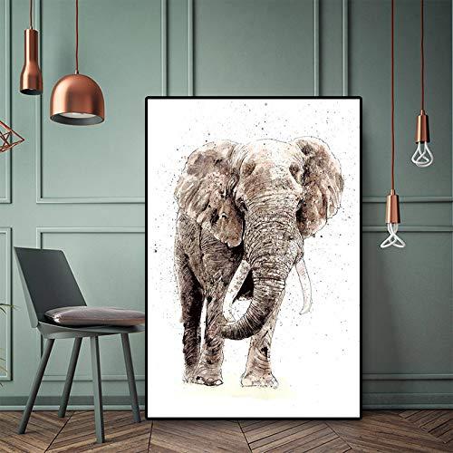 N / A Wildtierplakate und Leinwanddrucke Afrikanische Elefanten Nordische nordische minimalistische Wandbilder Kinderzimmerdekoration rahmenloses Gemälde 40cmX60cm