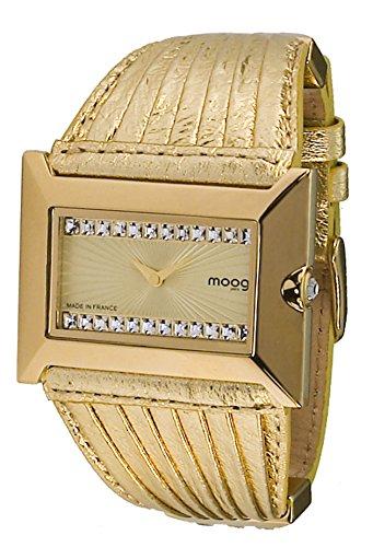 Moog Paris Temptation Damen Uhr mit Champagner Zifferblatt, Swarovski Elements & Goldenem Armband aus echtem Leder - M45332-005