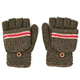 Flammi Boys' Warm Knit Fingerless Gloves with Mitten Cover Convertible Mittens 5-12 Years (Khaki)
