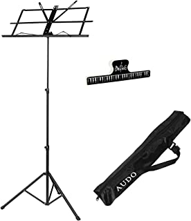 Audo Folding Music Stand with Music Book Clip and Music Stand Carry Bag Black